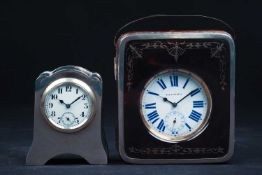 A silver, tortoiseshell and crocodile skin goliath pocket watch holder, with easel back,