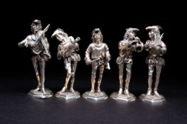 A group of five Spanish silver figures of musicians, 20th century, each dressed as minstrels