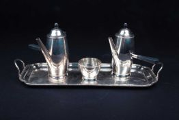A pair of George V silver chocolate pots, on conforming twin-handled tray with sucrier, Birmingham