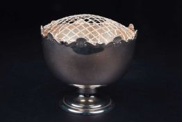 An Edwardian silver rose bowl, Birmingham 1908 by William Henry Sparrow, with repeating shell motifs