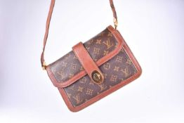 Louis Vuitton. A vintage 1980s monogram leather satchel handbag, with brown leather and monogram