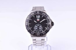 A Tag Heuer Professional Formula 1 stainless steel wristwatch the black dial with baton hour