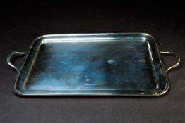 A George V twin handled silver tray, Sheffield 1932 by James Deakin & Sons, of plain rectangular