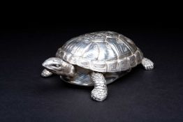 An Italian silver tortoise dressing table box, Fasano, Torino, mid 290th century, with removable
