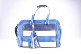A ladies blue leather Missoni handbag, with dark blue and pink striped decoration, double zip,