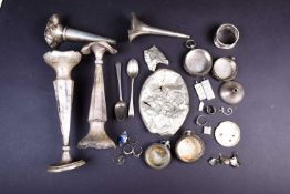 A collection of silver findings, including pocket watch cases, ingots, charms, vases (a/f) and