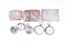A white metal cased pocket chronograph, together with a white metal pocket watch, two silver