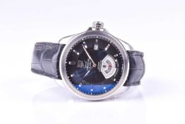 A Tag Heuer Grand Carrera Calibre 6 automatic wristwatch, the black dial with baton indices, and