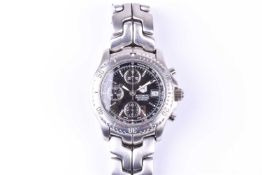 A Tag Heuer Professional automatic stainless steel chronograph wristwatch, the black dial with baton