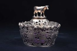 A fine Victorian silver covered butter dish, London 1854 by Charles Reily & George Storer, the