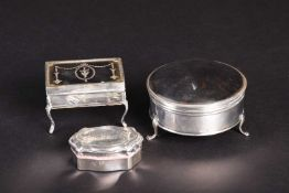 Two 19th century silver and tortoisehell-mounted jewellery boxes, one circular and the other of