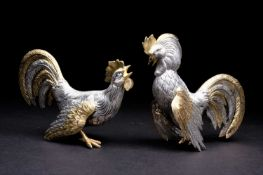 A pair of Spanish silver fighting cocks, 20th century, naturalistically modelled, heightened with