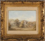 19th century English school, a rural landscape with a church and livestock to the foreground,