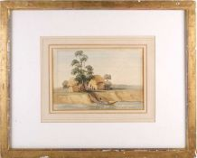 Late 19th century school, a landscape view with a boat on a river and figures, probably the Nile,