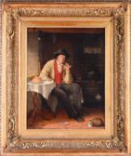 James Kyd (act. 1855-1875), a portrait of a man, seated beside a kitchen stove, a pipe in his