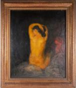 19th century school, study of a nude female, oil on panel, indistinctly signed, 64 cm x 52 cm in a