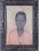 20th century School, a head and shoulders portrait of an African girl, indistinctly signed, oil on