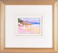Peter Graham (b.1959) British, 'Beach Stroll, Bermuda', watercolour, signed and dated 1997, label