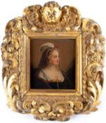 An 18th century portrait of a noblewoman, oil on panel, 15.5 cm x 14 cm, in a scrolling gilt frame