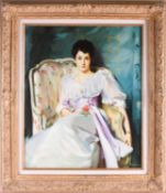 20th century English school, a portrait of a seated lady, signed 'Kenwood', oil on canvas, 59 cm x