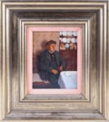 Ken Moroney (1949-2018) British, 'Old Man, Interior', oil on board, signed and dated 1977, 17.7 cm x