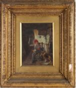 19th century Continental school, a boy and his dog in an interior scene, oil on panel, unsigned,