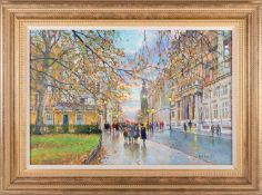 John Donaldson (b.1945) British, an impressionist view of Westminster, oil on panel, signed to lower