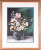 Helena de Pettes (20th century), a pastel and chalk study of summer flowers in a glass vase,