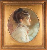 Late 19th or early 20th century English school, head shoulders oval profile portrait of a lady,