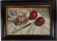 Late 19th century school, a still life study of fruit, glass of water, chinoiserie coffee can and