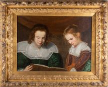 18th century school, a portrait study of two young children reading a book, oil on canvas, 45 cm x