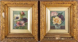 19th English school, a pair of floral studies, oil on canvas, unsigned, mounted in gilt moulded