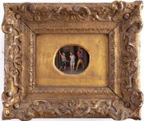 An early 19th century oval oil on copper painting, depicting the Flagellation of Christ, 7.5 cm x