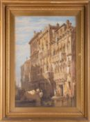 Manner of Samuel Prout, a 19th century Venetian townhouse, lithographic print, figures on the