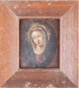 Late 18th/early 19th century school, an oil on copper portrait of the Virgin Mary, 8.4 cm x 6.5 cm