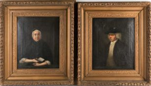 19th century English school, unsigned oils on canvas, a pair of portraits depicting a man and