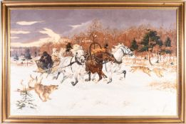 Wojciech Wolwowicz (b. 1950) Polish, hunters on a horse-drawn sledge, pursuing wolves, oil on