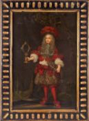 18th century school, a full length portrait of a nobleman in elaborate red tasselled costume,