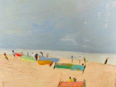 Oil painting by Suffolk artist Sarah Muir Poland - 'Walberswick Beach - looking forward to summer