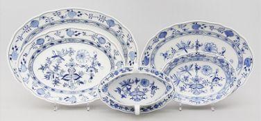 Drei ovale Platten, Schale und Sauciere, Meissen,