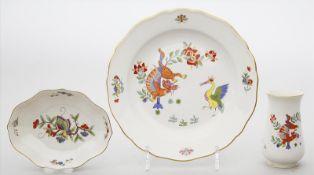 Vase, Teller und vierpassiges Schälchen, Meissen.