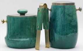 Tura, Aldo (1909 Italien 1963)Eisbehälter mit Zange und Flaschenkühler. Holz mit grün gefärbtem