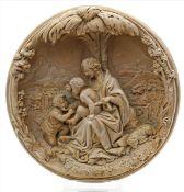 Stuckrelief.Halbplastische Mariendarstellung unter Palme. Um 1900. D. ca. 18 cm.
