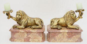 Paar barocke Löwenskulpturen (18. Jh.).