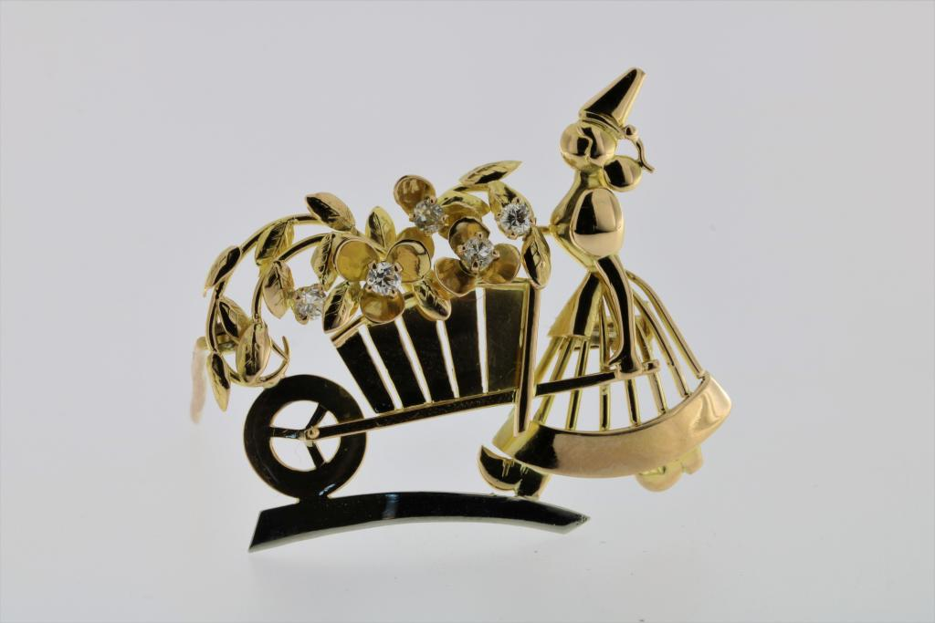 Lot 2002 - A yellow and white gold brooch 'lady with flowers', set with brilliant cut diamonds, total ca. 0.