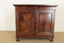 Mahonie kast met 2 paneeldeuren, vermaakt tot prentenkast, 19e eeuw, h. 97, br. 109, d. 74 cm.