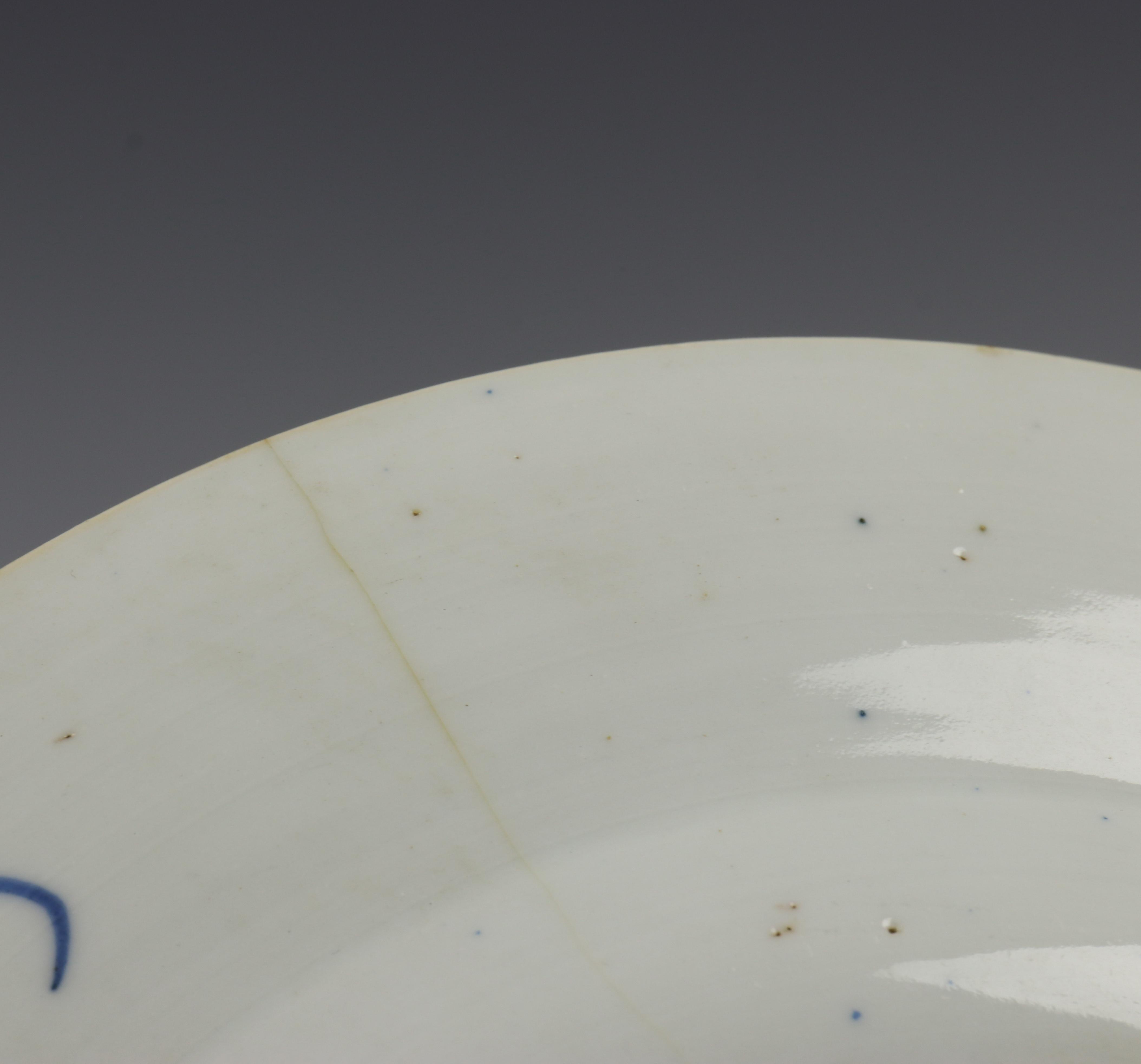 China, serie van acht blauw-wit porseleinen borden, Kangxi, - Image 7 of 9