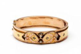 14krt. Rosé- en geelgouden stijve armband, 19e eeuw