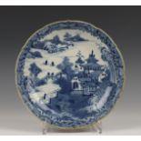 China, blauw-wit porseleinen bord, Qianlong,