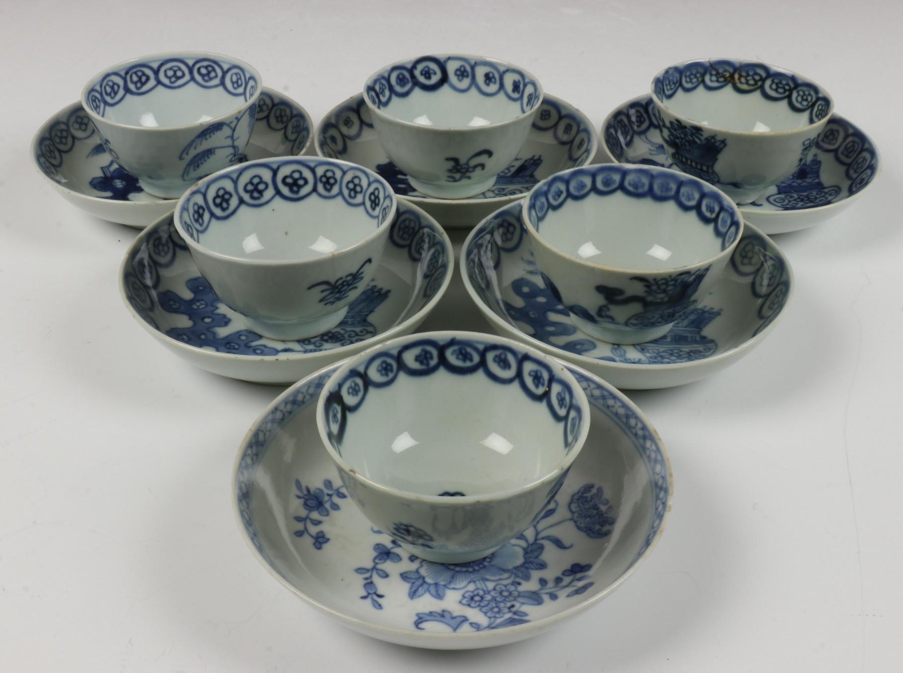 China, serie van zes blauw-wit porseleinen kop en schotels, Qianlong,